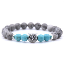 KANGKANG 2018 Hot Selling Natural Stone Gray Bead  Bracelet 8mm Elastic Rope owl Fashion Men Women Jewelry