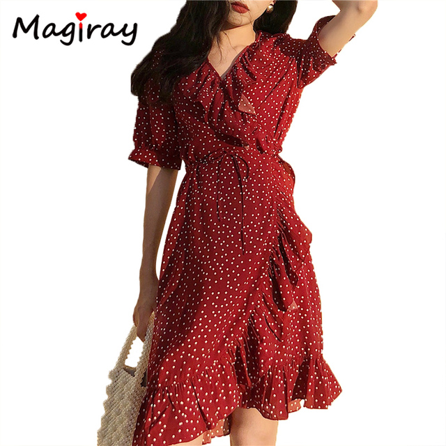 Magiray Sexy Puff Sleeve Wrap Chiffon Dress Women 2019 Summer Polka Dots Ruffle  V Neck Vintage Midi Dress Beach Robe Femme C289 bb012f21233a