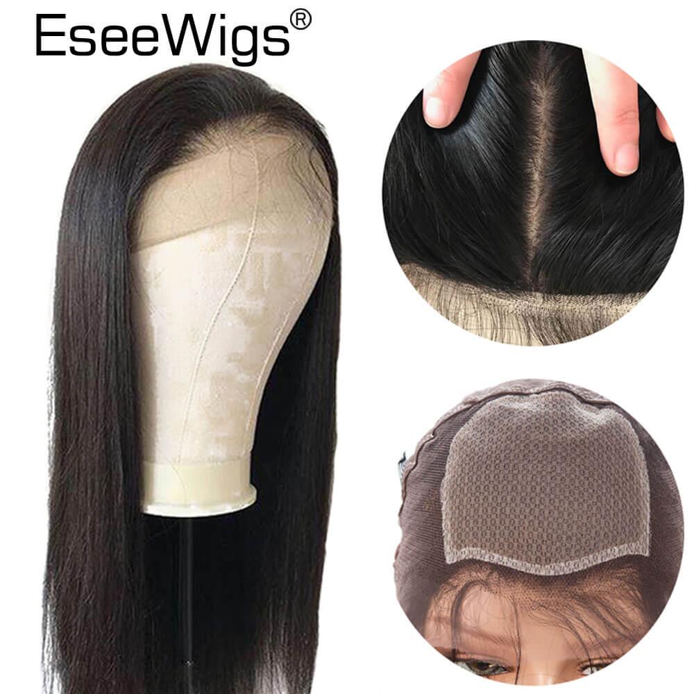 Eseewigs шелк база Искусственные парики предварительно выщипанные волосы с ребенком волос бразильский волосы remy Шелковый Топ шелковистые прям