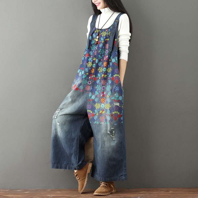 Wide Leg Bib Denim Overalls 2019 Women Vintage Printed Flower jean   Jumpsuits   Female Large size Drop Crotch Denim Rompers G101501