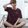 2016 лето мужская главная пижамы наборы брюки кальсоны мужской пижамы топы & попы хлопок пижамы набор футболки