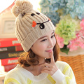 Cute Smiley Face Women Autumn Winter 100% Handmade Knitted Beanie Crimping Hat Cap
