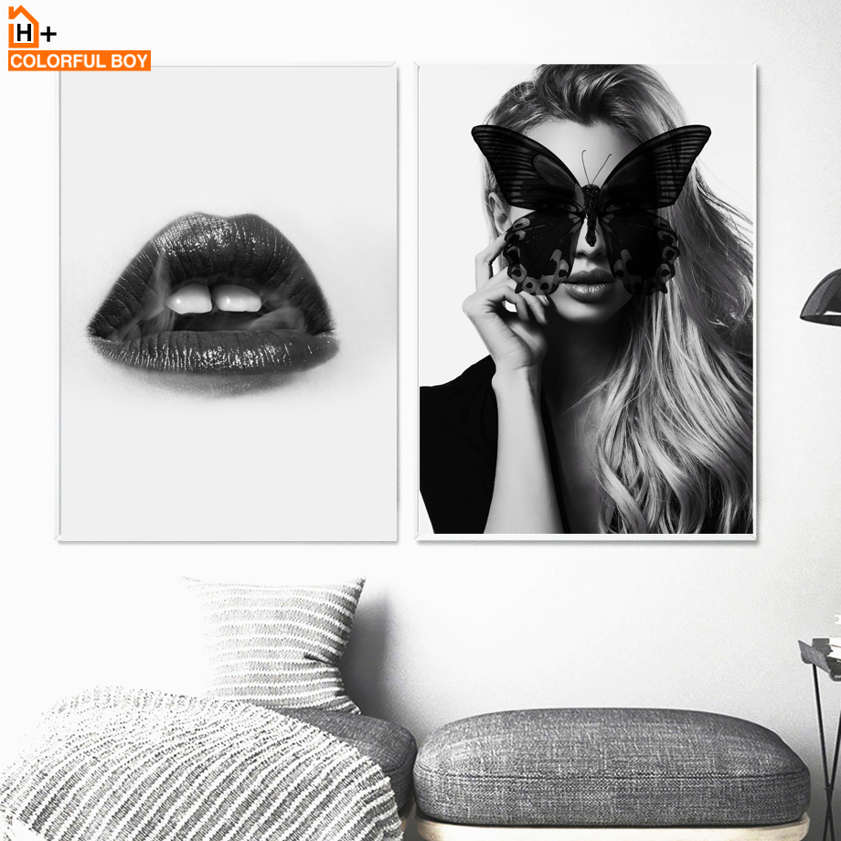 Colorfulboy sexy lips girl wall art print black white modern posters and prints pop art wall pictures for living room decor in painting calligraphy from
