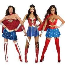 Лидер продаж, Женские Костюмы супергероев Wonder women для костюмированной вечеринки, костюмы на Хэллоуин для девушек, супер девушка, Диана, нарядное платье принцессы, Бальные наряды для женщин