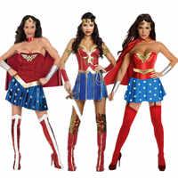 Heiße Weibliche Superhero Wonder Frauen Cosplay kostüme Halloween Damen Super Mädchen Diana Prinzessin Kleid phantasie ball outfits für frauen