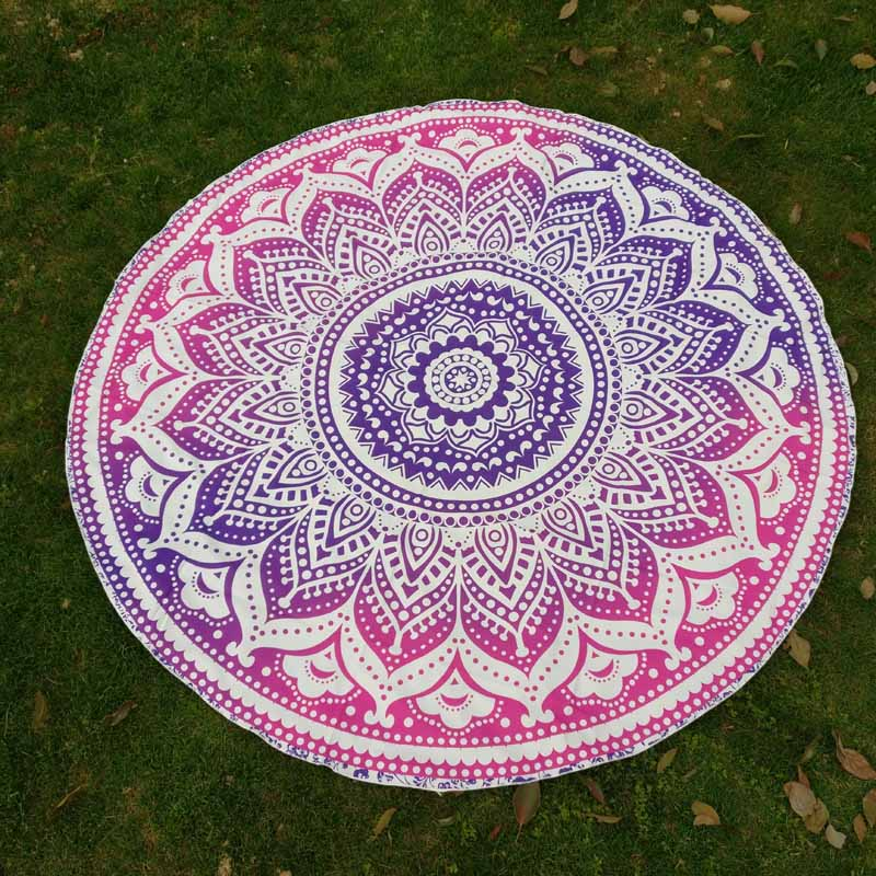 Polyester Cotton Beach Towel Round Pool Home Decoration Towel Blanket Mandala Tapestry Table Cloth Yoga Mat Camping Mattress