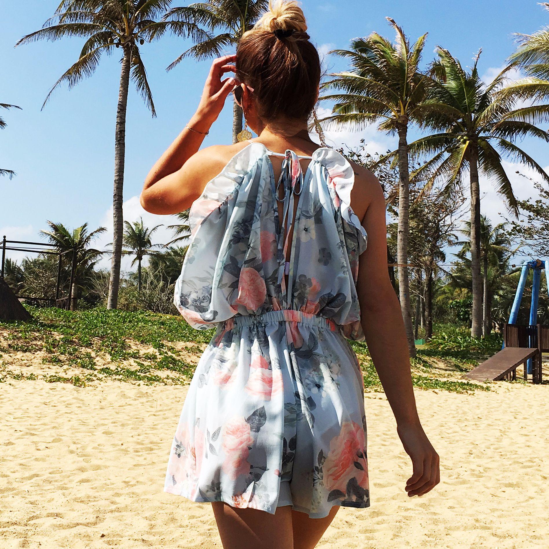 New Hot V-neck Print Sling Jumpsuit Shorts Ruffled Holidy Style Backless Chiffon Playsuits
