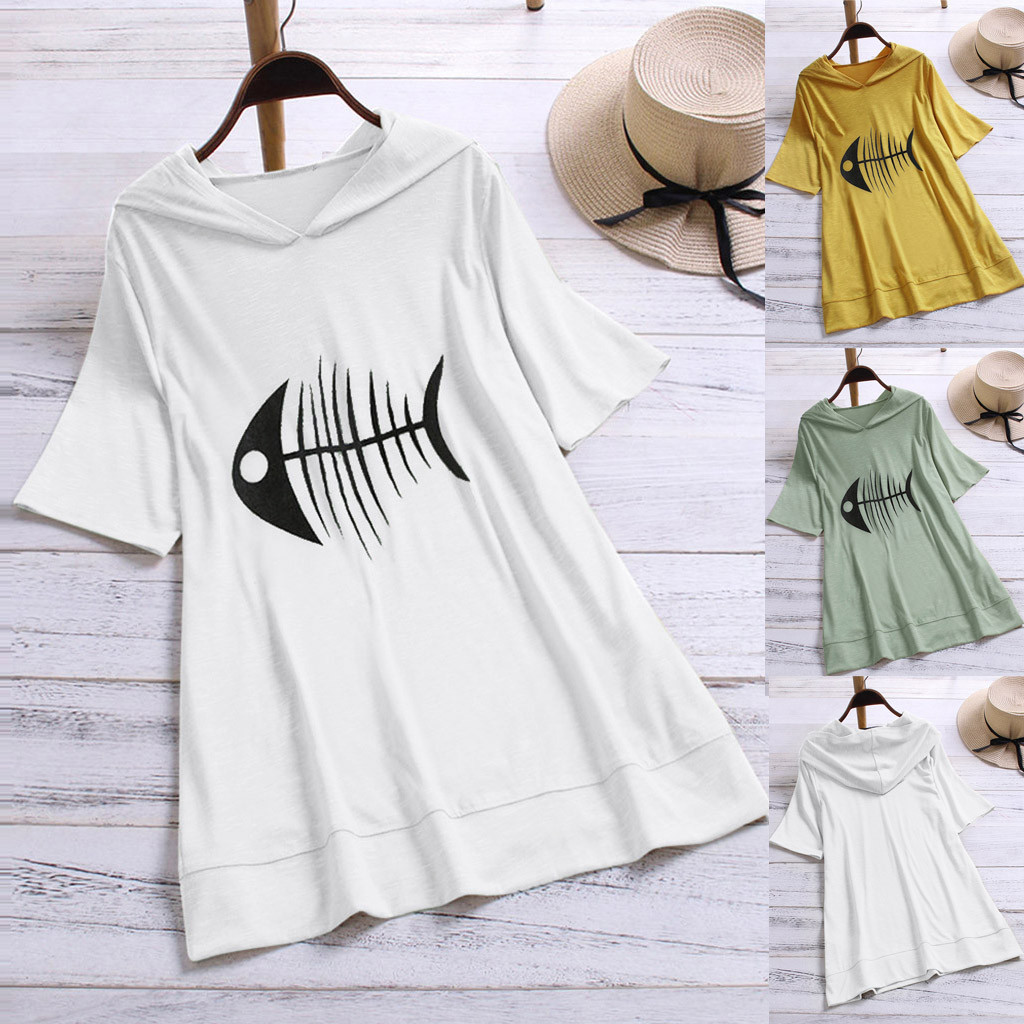 Learned Sagace Summer Fishbone Print T Shirt Women Maternity Clothing With Cap Casual Loose Blouse Fun Tops For Women Maternity In Pain