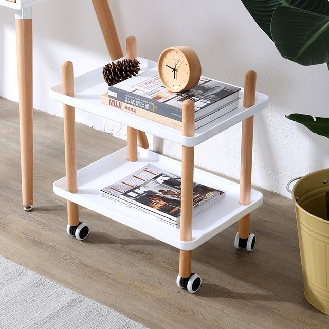 Charming Minimalist Modern Creative Dining Car Household Coffee Table Tea Table  Mobile Receive 2 Layer Wooden Multi