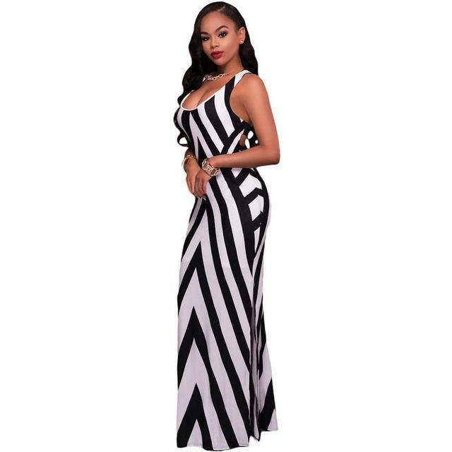 62985bcf2c Atractivo de las mujeres vestidos largos verano de las señoras blanco negro  a rayas sin mangas
