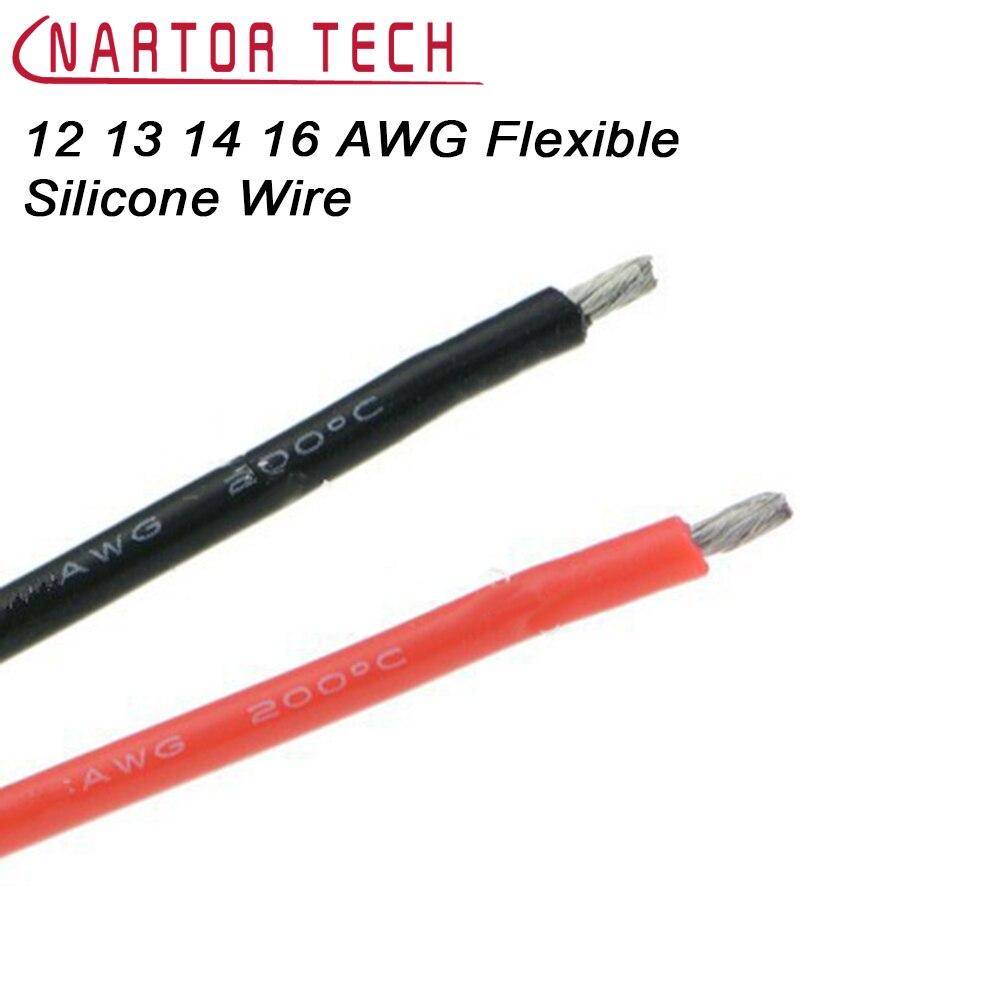 12 13 14 16 AWG câble souple en Silicone souple haute température étamé cuivre 1 M résistant à la chaleur Silicone souple Gel de silice fil haute