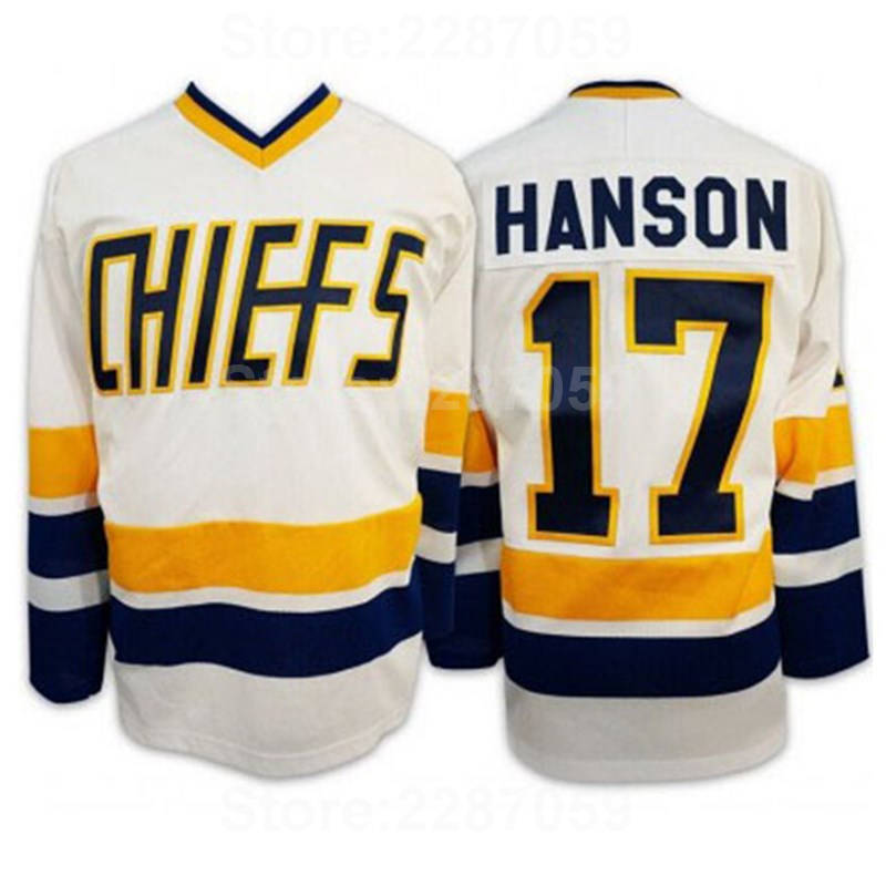Ediwallen Steve Hanson 17 Charlestown Chiefs Ice Hockey Jerseys Cheap Slap Shot Movie Hanson Jersey Men Blue White High Quality
