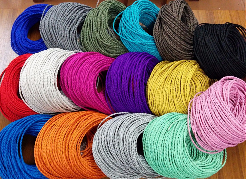 3 cores different colors braided textile fabric cable 3*0.75mm cloth coated silicon cable DIY vintage pendant lamp cloth wire yamaha silicon cloth m