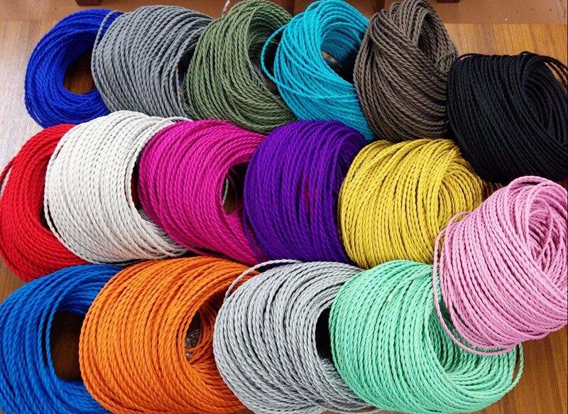 3 noyaux différentes couleurs tressé textile tissu câble 3*0.75mm tissu enduit de silicone câble DIY vintage pendentif lampe tissu fil