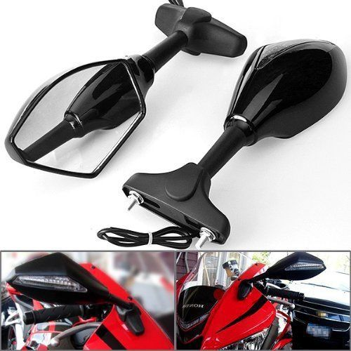 FREESHIPPING BLACK MOTORCYCLE LED TURN SIGNALS REARVIEW Sport Bike MIRRORS For HONDA SUZUKI KAWASAKI YAMAHA Triumph Ducati in Mirror Covers from Automobiles Motorcycles