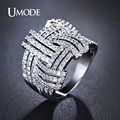 UMODE Weave Shaped Round Cut Clear CZ White Gold Plated Simulated Diamond Pave Rings Marca Jewelry for Women Hot Anillos UR0254