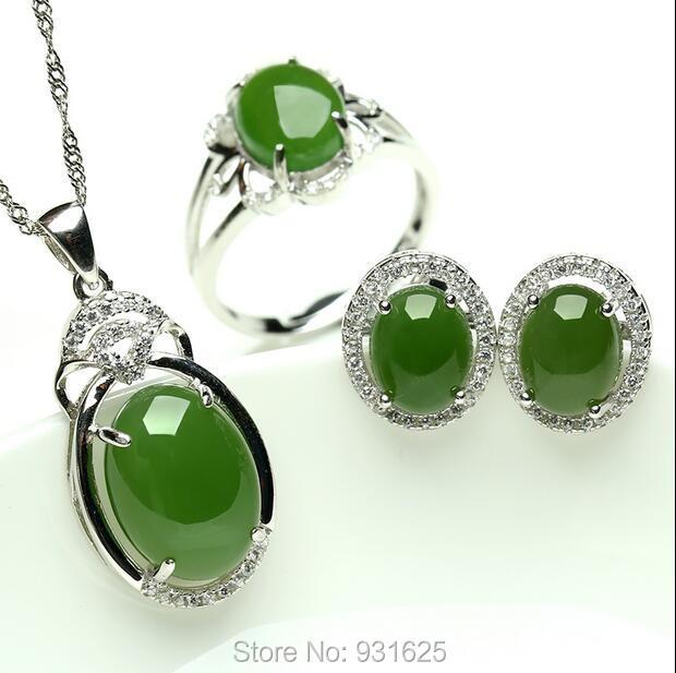 925 prata Natural HeTian Jade Verde Inlay Balançar Pingente de Colar Brinco anel Set + certificado de Jóias de Moda para a mulher