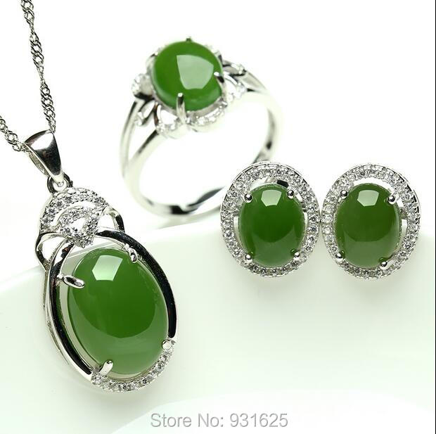 925 silver Natural Green HeTian Jade Inlay Dangle Pendant Necklace Earring ring Set + certificate Fashion Jewelry for woman