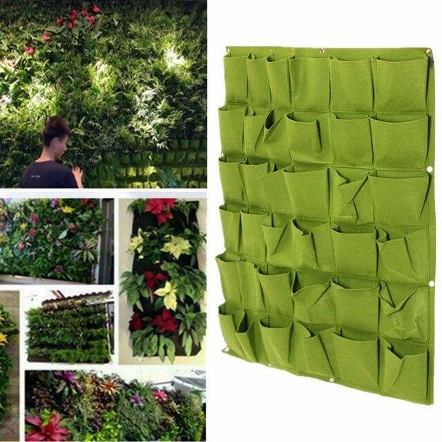 Vertikale Begrünung 36 taschen schwarz grün vertikale begrünung hängen wand garten