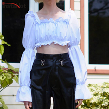 InstaHot Puff Sleeve Square Neck Vintage Shirts women Autumn Ruched Ruffles Crop Tops Elegant Off Shoulder Blouse Solid Blusas instahot puff sleeve square neck vintage shirts women autumn ruched ruffles crop tops elegant off shoulder blouse solid blusas