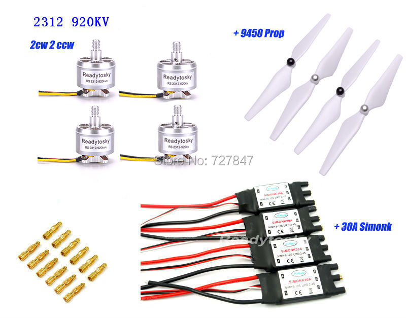 4 X 2312 920KV Brushless Motor CCW/CW +4x 30A Simonk Esc +4 X 9450 Self-locking Propeller for X500 Quadcopter 4x emax mt1806 brushless motor cw ccw