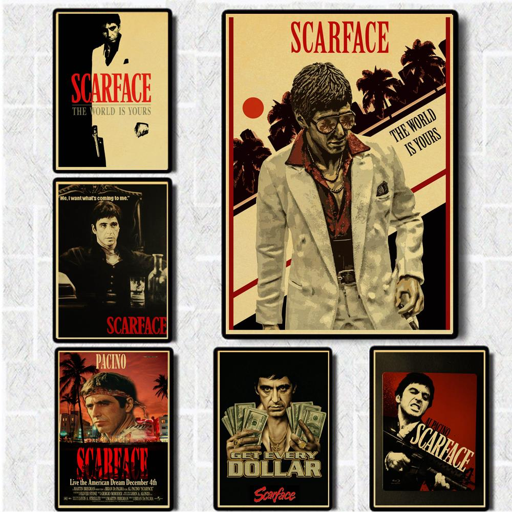 Movie Posters Painting Vintage Wall-Decor/stickers Scarface Kraft-Paper For Home-Bar