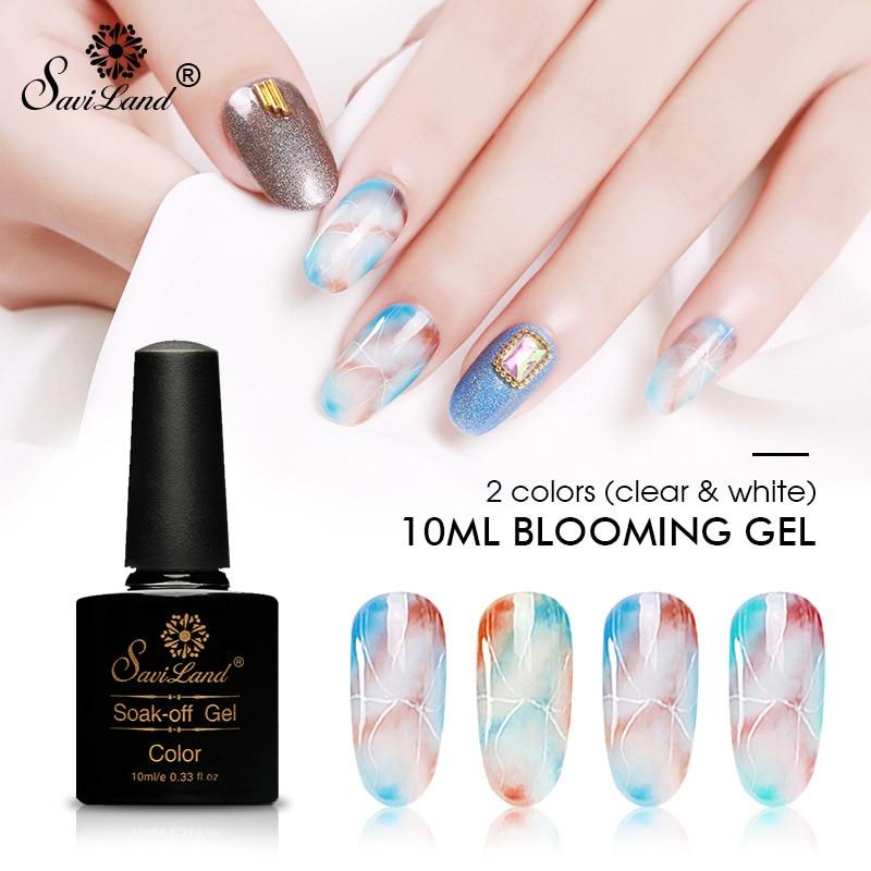 Saviland 10ml White Clear Blooming Gel Nail Polish Uv Nail