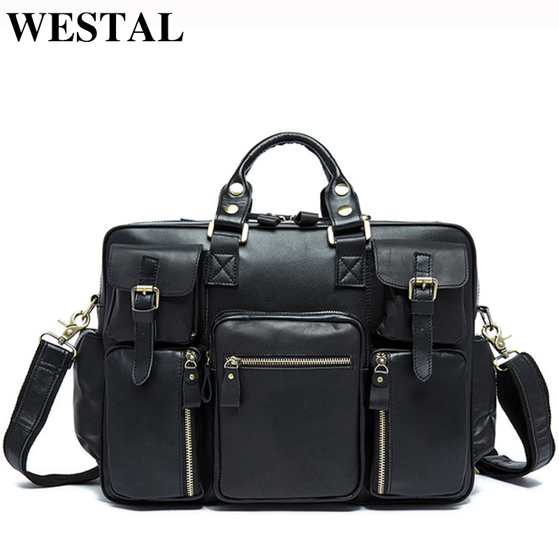 WESTAL Genuine Leather Men Bags Male Briefcase Handbag Totes Business Leather Laptop Bag Men Crossbody Shoulder Bags Male 8812