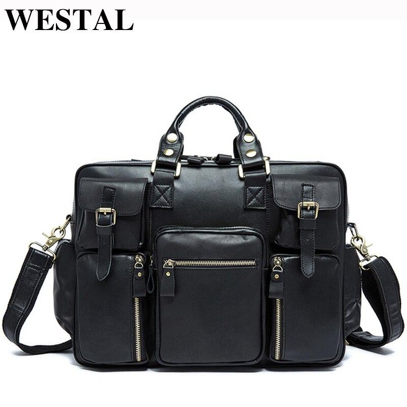 WESTAL en cuir véritable hommes sacs homme porte-documents sac à main Totes Business en cuir pochette d'ordinateur hommes bandoulière sacs à bandoulière homme 8812
