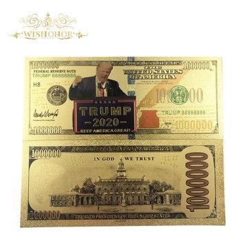 Nowe produkty dla 10 sztuk partia 2020 #8217 s ameryki Trump banknotów 1 milion dolarów złota banknotów jak Bill waluty prezenty darmowa wysyłka tanie i dobre opinie Pozłacane Antique sztuczna Patriotyzmu FGHGF 7days after you paid America Souvenir collection Gold