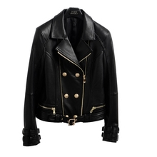 2017 New Genuine Leather Jacket Women Real Brand Spring Autumn Sheep Design Leather jacket sheepskin short paragraph Slim jacket