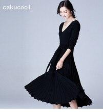 Cakucool Новый Для женщин v-образным вырезом с длинным рукавом вязаное платье осень длинные плиссированные тонкий Vestido лук пояса элегантные Офисные женские туфли вязать Платья для женщин