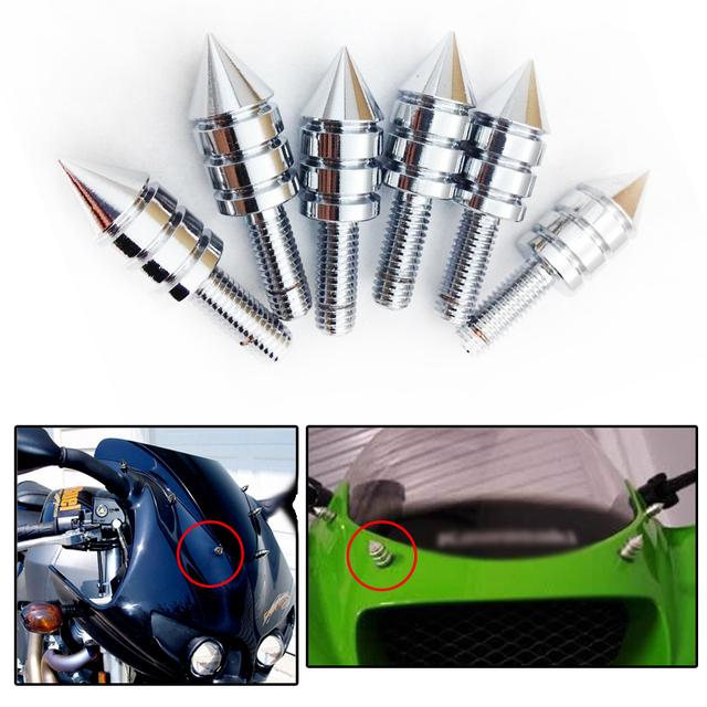 Universal Chrome Motocicleta de Spike Tornillos (Parabrisas, Carenados, Matrícula)