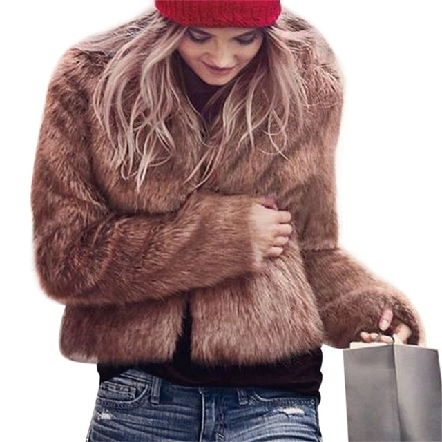 2017 Plus Size S-3XL Women Winter Fur Coat Long Sleeve Faux Fur Elegant Outerwear Short Fluffy Overcoat Browm/Black/White/Pink