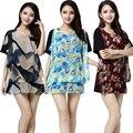 2016 лето женщины повседневная печати Блузки и Рубашки плюс размер свободные 3xl 4xl 5XL коротким рукавом шифон и модальные