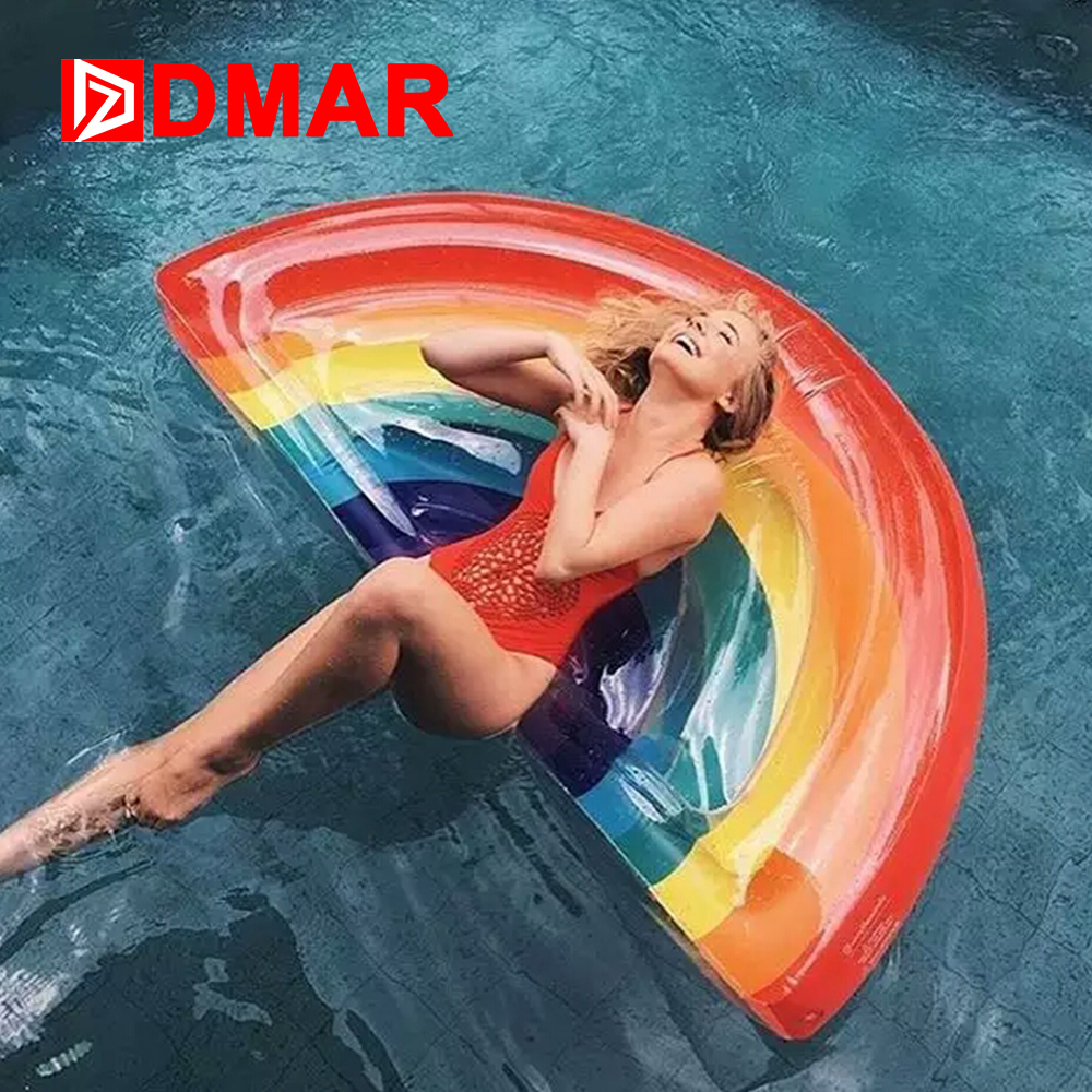 DMAR Inflatable Rainbow Giant Pool Float Mattress 177CM Swimming Ring Bed Sunbathe Beach Mat  Swimming Circle Water Party Toys xiaribaobei watermelon inflatable swimming ring pool float
