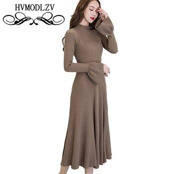 2017 Spring Autumn Women New Knit Dress Fashion Temperament High Waist Long sleeve Speaker sleeve Women's Clothing Dress Ls812