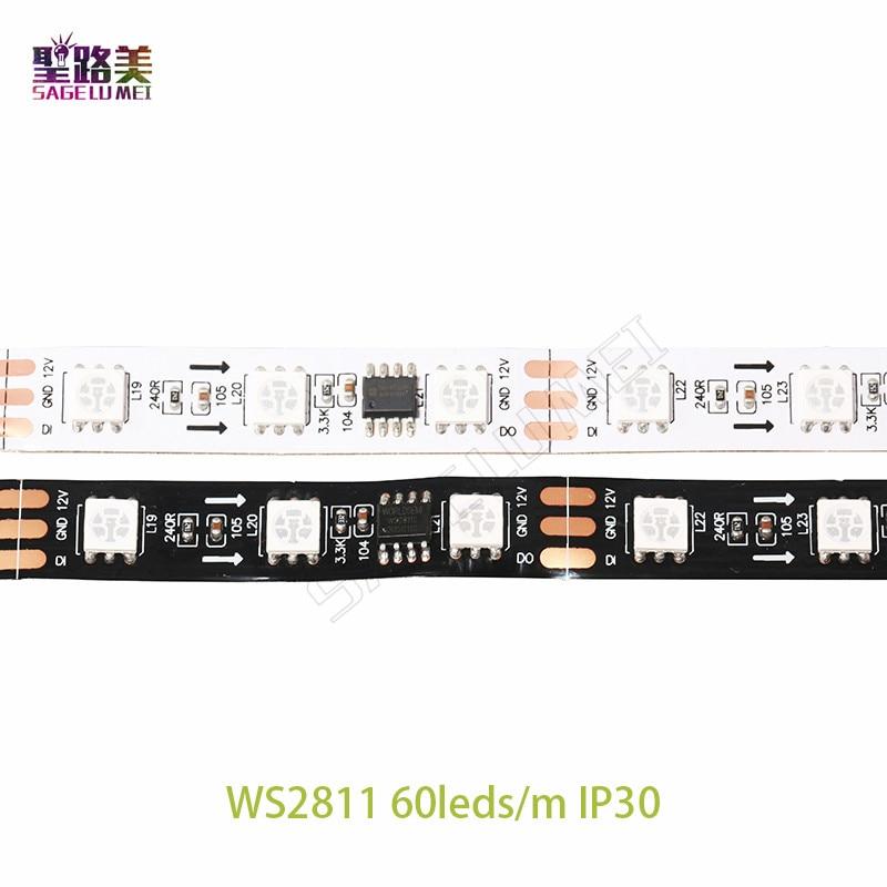 DC12V 5M WS2811 LED pixel strip light Rgb Full color 5050 Led strip ribbon flexible Addressable Digital LED tape 1 Ic Control 3