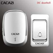 CACAZI Wireless Doorbell DC battery door bell Control Button 200M Remote LED Lig