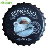 2017 New Espresso Bottle Cap Metal Tin Sign Vintage Home Decor Tin Sign Cafe Wall Decor Metal Sign 3D Wall Decor Metal Plaque