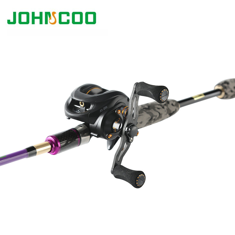 Johncoo Fishing Rod Combo Carbon Reel 165g 6.3:1 Lure rod 2.1m 2.4m with 3 tips ML M MH casting rod Fast action baitcasting reel(China)