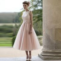 Tea Length Bateau Neck Lace Covered Bodice A Line Tulle Bridesmaid Dress With Ribbon 2017 Short