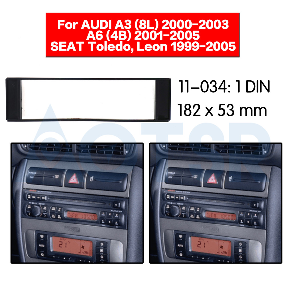 2 din Fascia for AUDI A3 (8L) 2000-2003 A6 (4B) 2001-2005 For SEAT Toledo Leon 1999-2005 Installation Dash Kit Frame Adapter CD