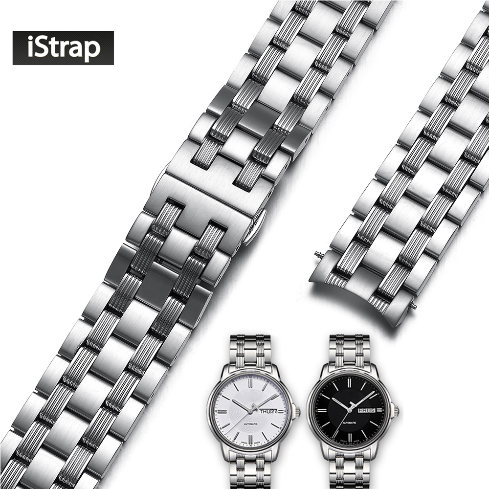iStrap 316L Stainless Steel Watchband 19mm Polished and Brushed Silver Replacement Watch Strap For Tissot Seastar