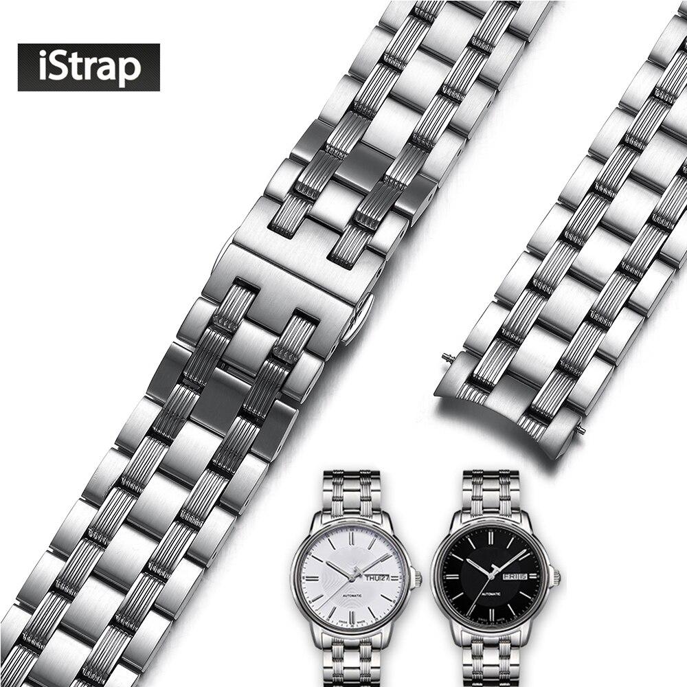 Bracelet de montre de rechange en acier inoxydable iStrap 316L 19mm en argent poli et brossé pour Tissot Seastar T065