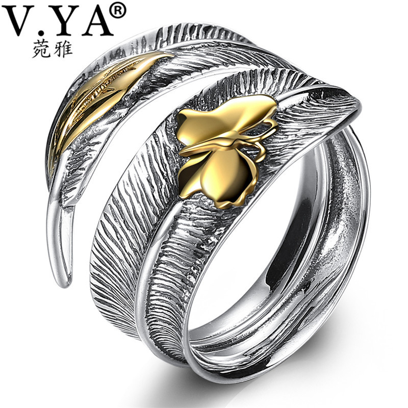 V.YA 925 Sterling Silver Ring for Men Women Leaf & Butterfly Adjustable Rings Retro Thai Silver Jewelry Bijoux Best Gift цены онлайн