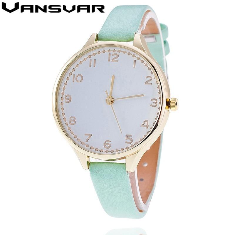 Vansvar Fashion Leather Strap Watch Casual Women Wristwatch Luxury Ladies Quartz Watch Relogio Feminino Gift Clock 1918  недорого