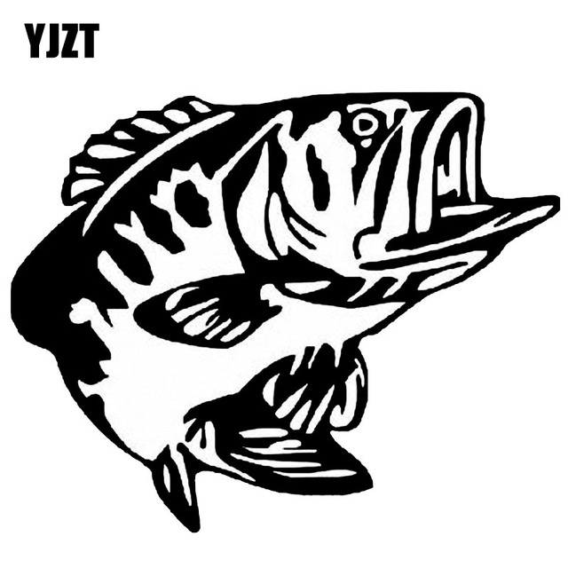YJZT 14.6*11.8CM Bass Fish Vinyl Decal Window Decoration