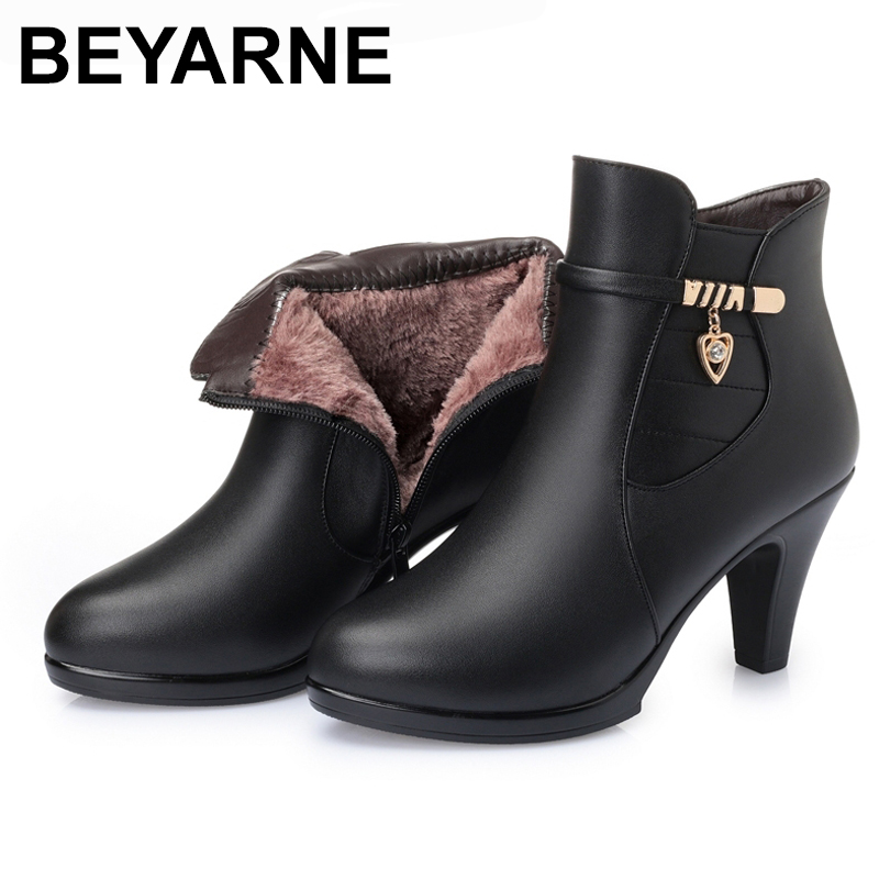 BEYARNE NEW Fashion Genuine Leather Women Ankle Boots High Heels Zipper Shoes Warm Fur Winter Boots for Women bling pu leather women sexy boots high heels zipper shoes warm fur winter boots for women x1022 35