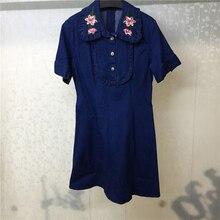 2019 Spring Summer Dress Short Sleeve Denim Embroidery Turn-down Collar Casual Women